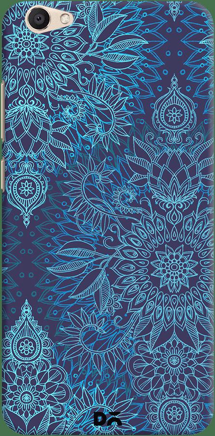 DailyObjects Aqua Cobalt Blue Doodle Pattern Case For Vivo V5